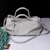 Colore solido delle borse del Tote delle donne del cuoio genuino con la cinghia Emg4703