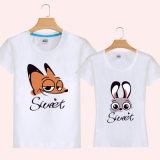 T-shirt fait sur commande d'amoureux de coton de vente en gros d'impression de mode