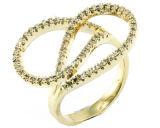 La joyería de la manera para el oro del amor de la boda plateó el anillo de dedo de la plata esterlina 925 (R10404)