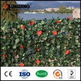 Стена листьев новых Shrubs зеленого цвета украшения конструкции искусственная с цветками