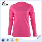 لون قرنفل طويل كم قميص إمرأة قميص رياضة لباس