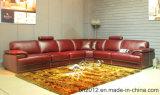 Sofa de cuir véritable de salle de séjour (H3016)