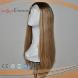 Парик женщин длиннего цвета Omber человеческих волос белокурого Silk верхний
