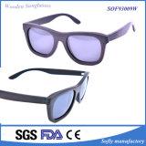 2016 migliore occhiali da sole di legno dell'ebano rispecchiati di disegno rivestimento