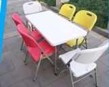 4ft Small Rectangular Easy Carrying HDPE Blow Moulding Folding Camping Table con 4 Seater