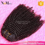 Kinky Curly Clip em extensões de cabelo humano Dubai 7PCS / Set Grampo brasileiro africano em extensões de cabelo humano Clip Ins