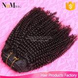 Grampo Curly Kinky no grampo brasileiro humano do americano africano de Dubai 7PCS/Set das extensões do cabelo no Ins do grampo das extensões do cabelo humano