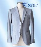 Forma 2016 clara - blazer ocasional feito malha cinzento do algodão para homens
