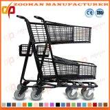 Черный Coated супермаркет металла регулируя тележку вагонетки покупкы металла (Zht193)