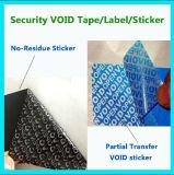 Qualität Anti-Fälschung Sicherheits-Lücken-Material; Kein-Rückstand Aufkleber