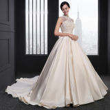 Champagne A-Line Beaded High-Neck Princess Classical Wedding Dress (SL029)