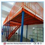 Mezanino e plataforma revestidos do armazém da prateleira da fábrica do pó