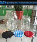 Bottiglia rotonda di vetro della banda per miele, spezia, gelatina