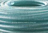 Boyau hydraulique renforcé vert en plastique de pipe de fil d'acier de PVC