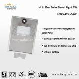 De zonne Straatlantaarn integreerde allen in Één Type met Zonnepaneel van de Batterij van Li het Hoge Efficiënte Mono
