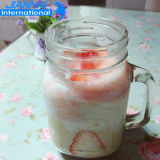 Frasco de pedreiro de vidro bonito com armazenamento do suco e do alimento