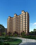 Edificio residenziale di alto aumento che rende immagine di alta risoluzione