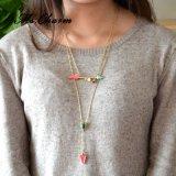 Collana Chain placcata oro Pendant di pietra naturale di cristallo della perla