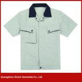 Vêtements courts bon marché en gros de travail de chemise uniformes pour l'été (W157)
