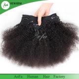 Clip dans le clip bouclé crépu non transformé de bonne qualité de prolonge de cheveux humains dans le cheveu