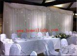 Telón de fondo LED Star abrir y cerrar cortina blanca para la boda Mostrar