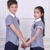 초등 학교를 위한 교복, 격자 무늬의 셔츠 및 까만 바지 또는 치마