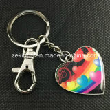Metal por encargo Keychain de la impresión de la dimensión de una variable del corazón