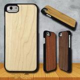 iPhone de madera natural 7 6 casos con la PC recubierta de goma básica