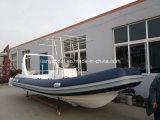 Material de casco de fibra de vidrio y certificación Ce Rigid barco inflable 22FT