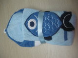 Essuie-main 100% et mitaine à capuchon de requin du coton 3D avec la broderie