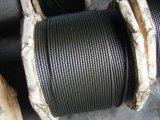 Muita corda de fio de aço 35X7 do preto da graxa que gira não
