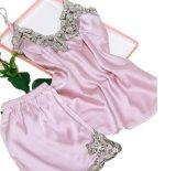 Пижамы шелка высокого качества V-Шеи женщин лета сексуальные