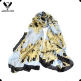 여자의 고품질 형식 소매 잎 인쇄 실크 직물 스카프