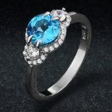 Anel lindo real do azul de Londres da jóia de prata contínua