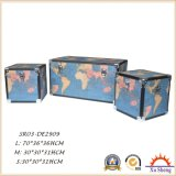 Wooden Decorative Vintage Beige Carte du monde Print Storage Trunk Set of 3