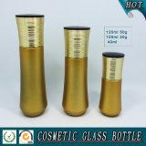 Goldgelb farbige kosmetische Glasflasche und Kosmetik-Glassahneglas