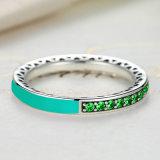 De groene Ring van het Email van de Orchidee van 925 Echte Zilveren Stralende Harten & van de Vinger van Kristallen Cerise
