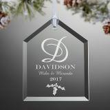 Decoración personalizada de la Navidad de las ideas del presente del regalo del ornamento del árbol de Navidad del hogar del día de fiesta del partido del arte del vidrio cristalino