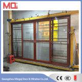 Porte coulissante en verre en aluminium avec grillades et moustiquaire
