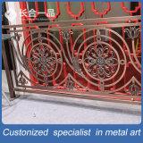 Lujo personalizado vestíbulo del hotel Hueco-hacia fuera de oro # 304 de acero Escaleras Barandilla