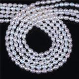 Оптовая продажа стренги перлы формы яичка риса высокого качества белая пресноводная