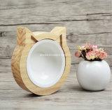 Pequeño alimentador de madera del gato tazón de fuente de encargo de la insignia del solo