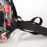 Negro floral retro PVC impermeable lienzo mochila bolsa