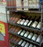 Séries ajustáveis do supermercado as 5 Epoxy cremalheira de indicador revestida do vinho do metal