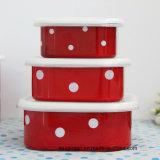 مينا أداة مائدة مينا إناء [ستورج تنك] طازج - يحافظ صندوق مع تغطية بلاستيكيّة 3/4 في مجموعة