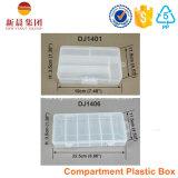 Caixa de armazenamento plástica do compartimento de 6 verticais