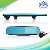 Pleine HD 1080P automobile d'appareil-photo du véhicule DVR du l'E-As caméscope duel de Registratory de lentille de magnétoscope numérique de miroir de Rearview de 4.3 pouces