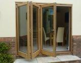 Vidrio templado doble de Woodwin Puerta plegable compuesta de madera y de aluminio