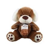 스카프를 가진 연약한 장난감 개 브라운에 의하여 채워지는 견면 벨벳 장난감 개