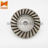 """roue de cuvette de Turbo de diamant de l'aluminium 4 """" 5/8 """" - 11 pour le granit"""